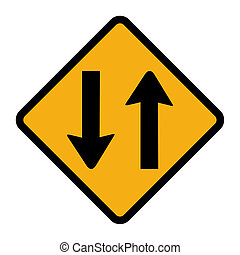 Two way traffic sign - Orange diamond shaped two way traffic...