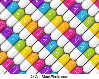 3d rendering of vitamin pills in row. Concept of dietary...