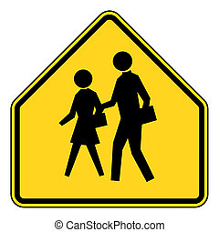 School zone sign - School zone or children crossing sign...