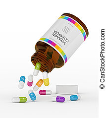 3d rendering of vitamin pills with bottle. Concept of...