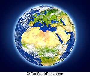 Libya on planet Earth - Libya highlighted in red on planet...