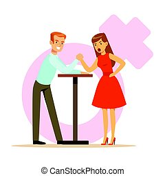 Man and woman with hands clasped arm wrestling, girlfriend...