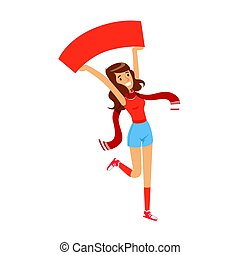 Smiling football fan girl character in red holding blank banner over her head vector Illustration