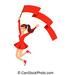 Happy football fan girl character in red jumping with flag of her team vector Illustration