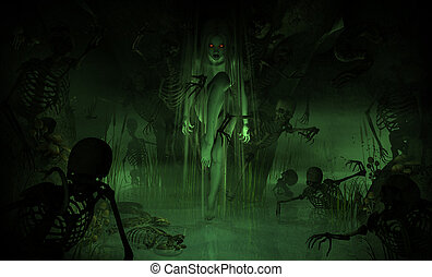Swamp Witch - 3d illustration of a swamp witch surrounded by...