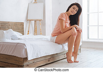 Girl of unearthly beauty smiling into camera - What a lovely...