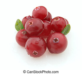 Fresh cranberry with leaves on a white background