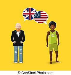 Two people with white speech bubbles with Great britain and USA flags. Language study concept illustration