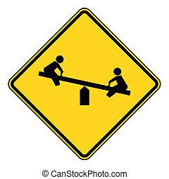 Children playground sign - Children on seesaw playground...