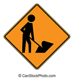 Roadworks sign - Diamond shaped roadworks sign, isolated on...