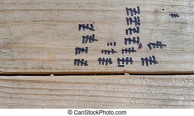 tally marks on weathered wood - black tally marks on...