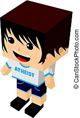 atheist guy cartoon mascot - atheism theme - against...