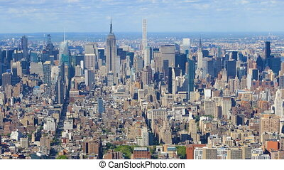 Aerial timelapse of the midtown Manhattan, New York area -...