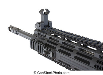 Assault rifle - Fore end and barrel that is on a black...