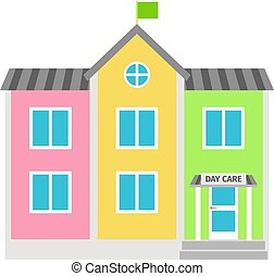 Daycare colorful building flat icon on white background....