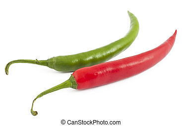 Red and green chili peppers isolated on white background