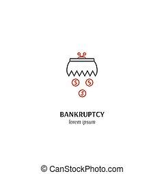 Economic crisis icon - Vector financial bankruptcy symbol...