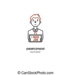 Economic crisis icon - Vector unemployment symbol isolated...