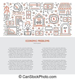 Economic crisis banner - Vector financial bankruptcy and...