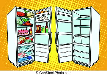 Two refrigerators. One with food and the other empty. Comic...
