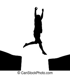 Man jumping over a gap - Man silhouette jumping over a gap