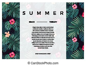 Tropical vector design with bright hibiscus flowers and exotic palm leaves on dark background. Space for text.