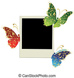 Photo frame design with butterfly decoration