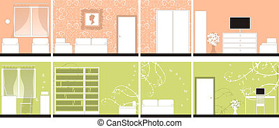 Interior design of rooms, all walls
