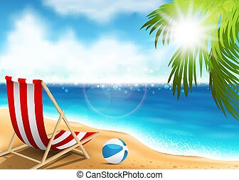 Lounge chair on the seaside - Vector illustration of a...