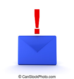 3D illustration of a blue mail envelope with red exclamation...