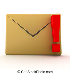 3D illustration of mail envelope with red exclamation point....