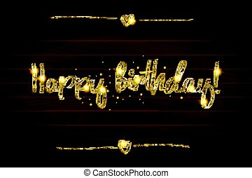 happy birthday in gold lettering