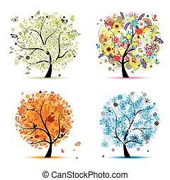 四, 季節, -, 春天, 夏天, 秋天, 冬天, 藝術, 樹,...