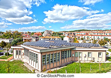 solar panels on the roof - green power system