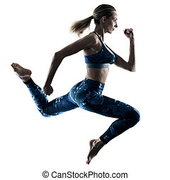 woman fitness excercises jumping silhouette