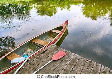 Canoe on the riverside