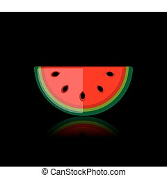 Piece of watermelon on black for your design