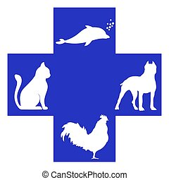 Veterinary cross with dog, dolphin, rooster and cat inside....