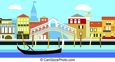 Vector illustration of Venice cityscape in simple style. Traditional Italian landscape. Houses in the old European style. River channel and boat.