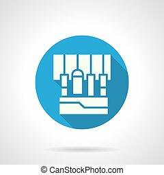 Sound equipment blue round vector icon
