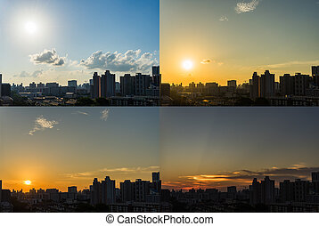 4 Moments of Sunset Downtown Singapore skyline day to night...