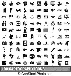 100 cartography icons set, simple style - 100 cartography...
