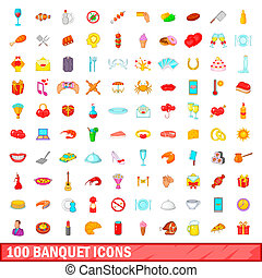100 banquet icons set, cartoon style - 100 banquet icons set...