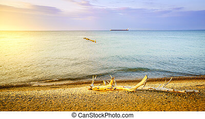 Whitefish Point, Michigan - Beach on Lake Superior in...