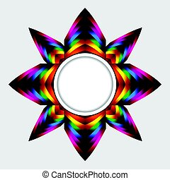 Abstract colourful star with copy space border