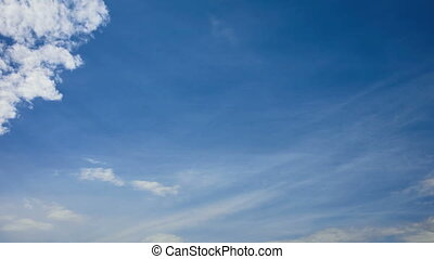 White clouds on blue sky - Time lapse video of white cumulus...