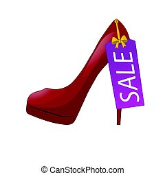 Illustration of red high-heel shoe with discount tag. Sale label. Isolated on white background. Vector illustration