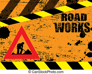 road works under construction background, vector...