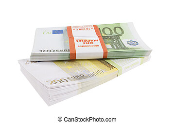Packs of banknotes of euro on a white background