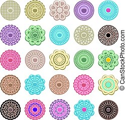 vector set of colorful fruit and oreo cookies